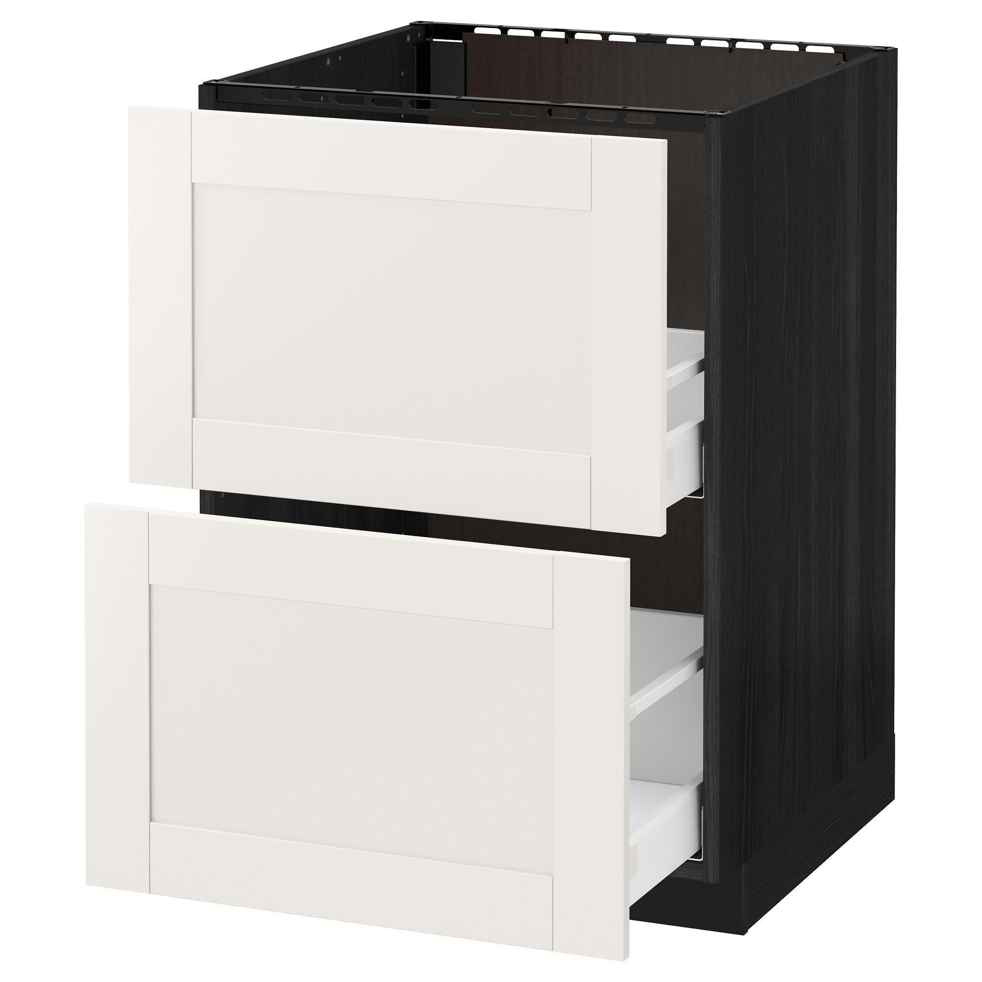 Напольный шкаф под мойку + 2 фронтальных панели, 2 ящика МЕТОД / МАКСИМЕРА черный артикуль № 792.371.94 в наличии. Онлайн сайт IKEA Минск. Быстрая доставка и установка.