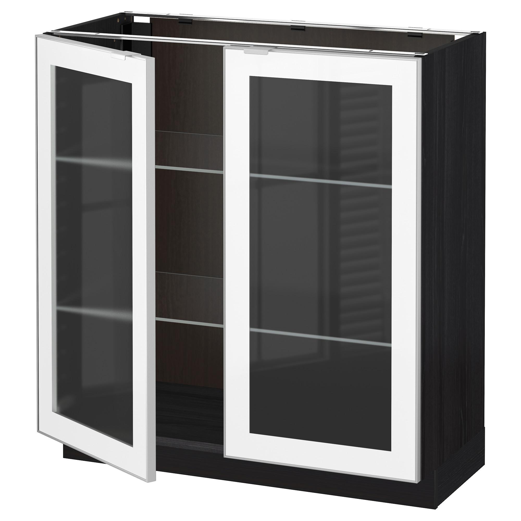 Напольный шкаф с 2 стекло дверцами МЕТОД черный артикуль № 092.384.08 в наличии. Онлайн каталог IKEA Беларусь. Недорогая доставка и соборка.