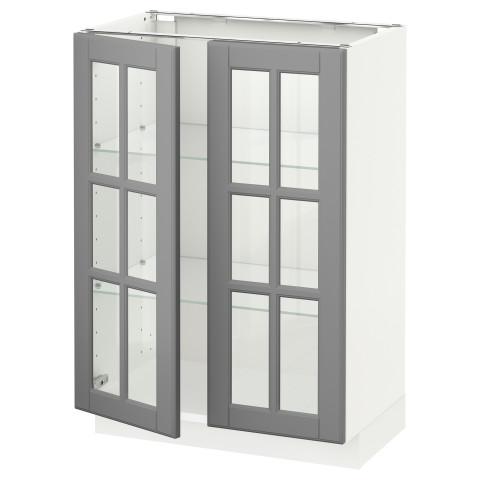 Напольный шкаф с 2 стекло дверцами МЕТОД серый артикуль № 292.277.29 в наличии. Онлайн сайт IKEA Республика Беларусь. Быстрая доставка и монтаж.