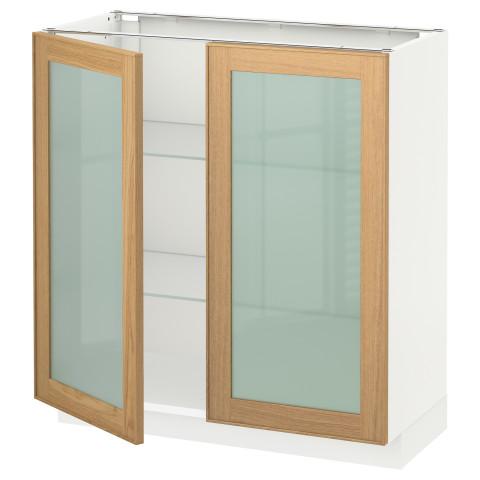 Напольный шкаф с 2 стекло дверцами МЕТОД белый артикуль № 592.258.37 в наличии. Онлайн магазин IKEA Беларусь. Недорогая доставка и монтаж.