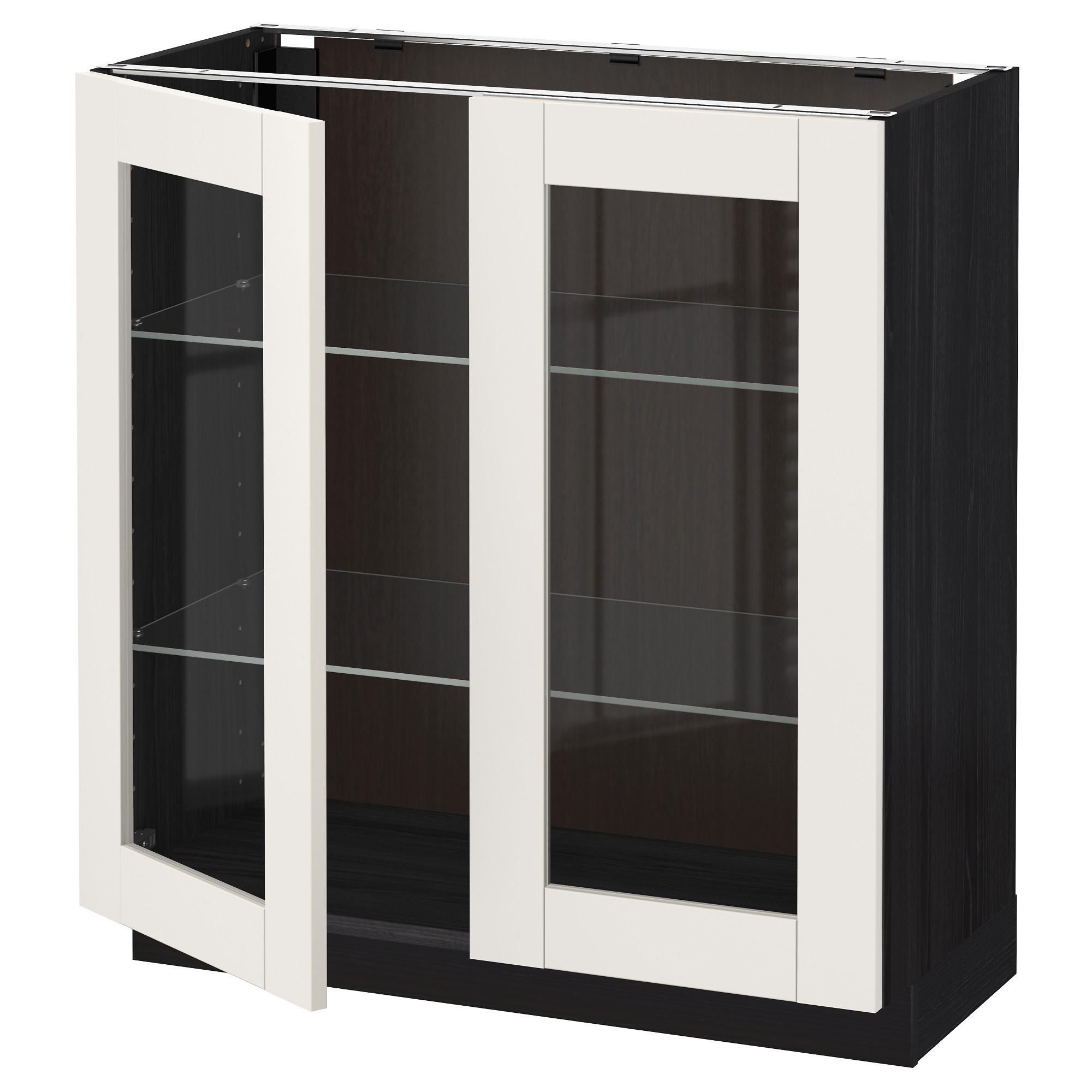 Напольный шкаф с 2 стекло дверцами МЕТОД черный артикуль № 692.229.56 в наличии. Онлайн каталог IKEA РБ. Недорогая доставка и установка.