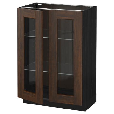 Напольный шкаф с 2 стекло дверцами МЕТОД черный артикуль № 692.264.12 в наличии. Онлайн магазин ИКЕА Беларусь. Недорогая доставка и установка.