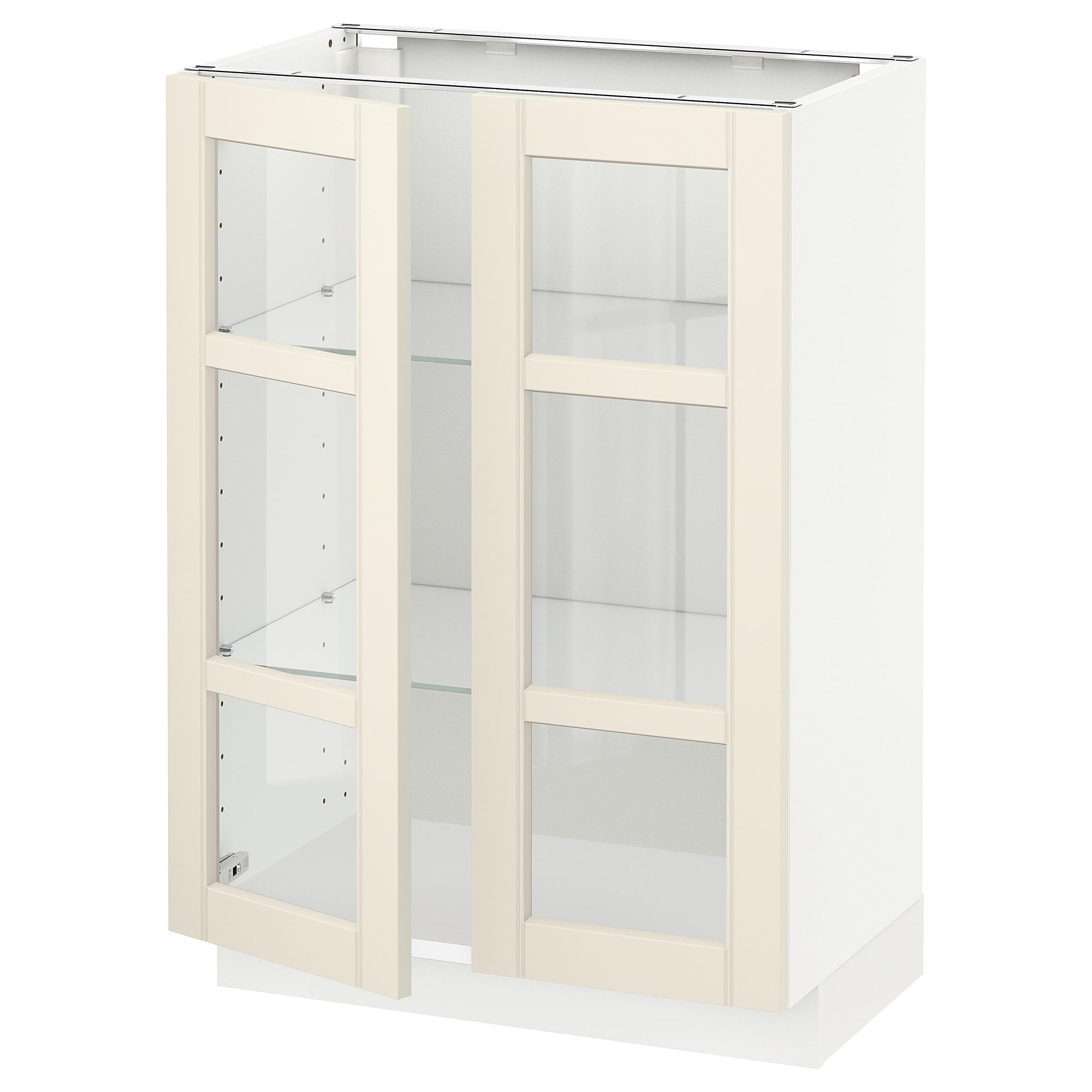 Напольный шкаф с 2 стекло дверцами МЕТОД белый артикуль № 992.404.40 в наличии. Онлайн магазин IKEA Республика Беларусь. Недорогая доставка и соборка.