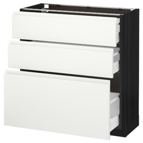 Напольный шкаф с 3 ящиками МЕТОД / МАКСИМЕРА черный артикуль № 292.387.75 в наличии. Онлайн магазин IKEA РБ. Недорогая доставка и соборка.
