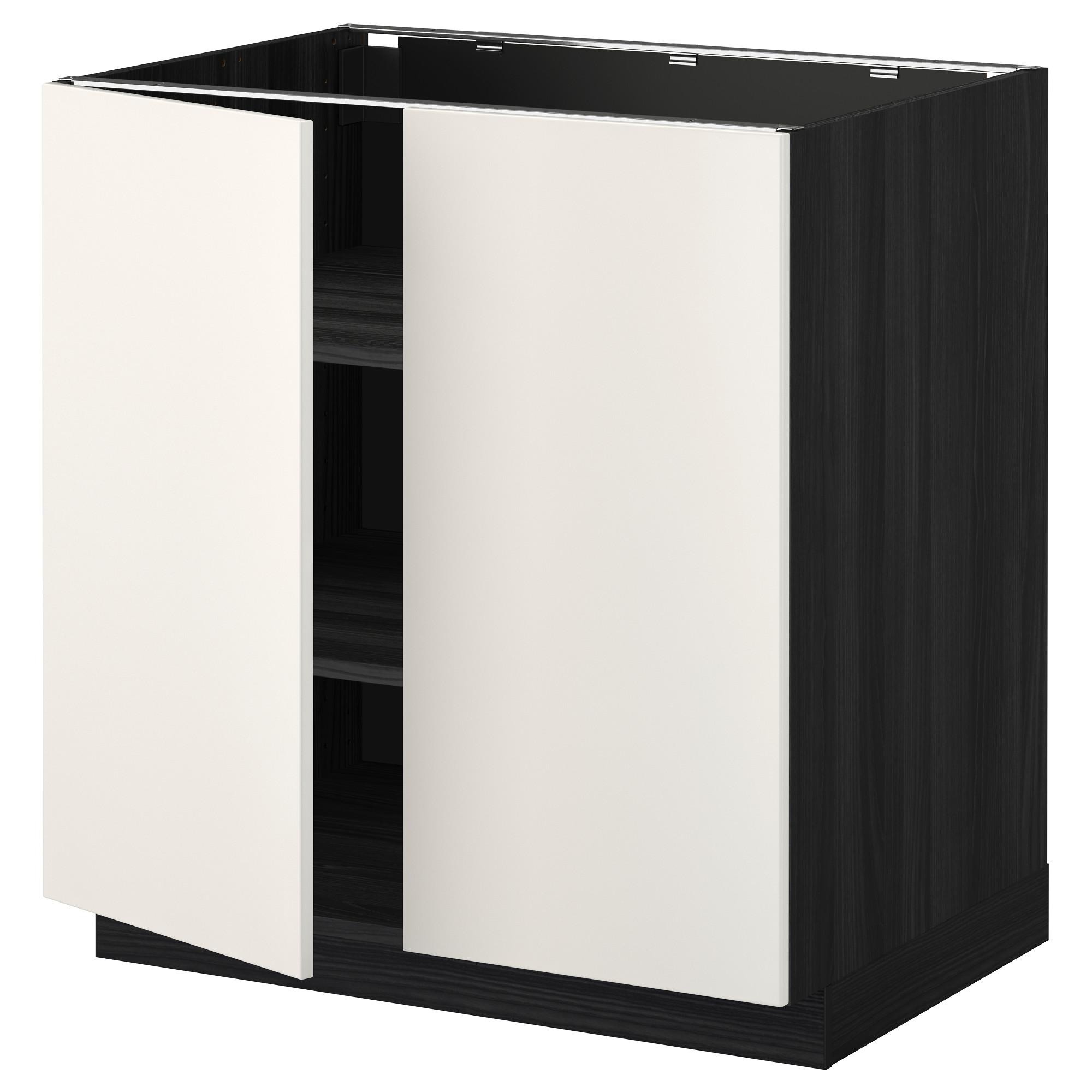 Напольный шкаф с полками, 2 двери МЕТОД черный артикуль № 392.234.67 в наличии. Онлайн магазин IKEA РБ. Быстрая доставка и установка.