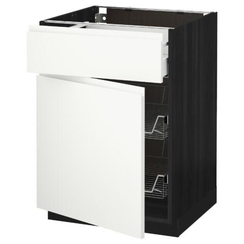 Напольный шкаф с проволочной корзиной, ящиком, дверью МЕТОД / МАКСИМЕРА черный артикуль № 592.382.22 в наличии. Онлайн сайт IKEA Минск. Недорогая доставка и монтаж.