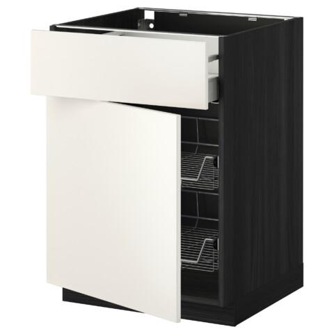 Напольный шкаф с проволочной корзиной, ящиком, дверью МЕТОД / МАКСИМЕРА черный артикуль № 992.345.52 в наличии. Интернет сайт IKEA Минск. Быстрая доставка и установка.