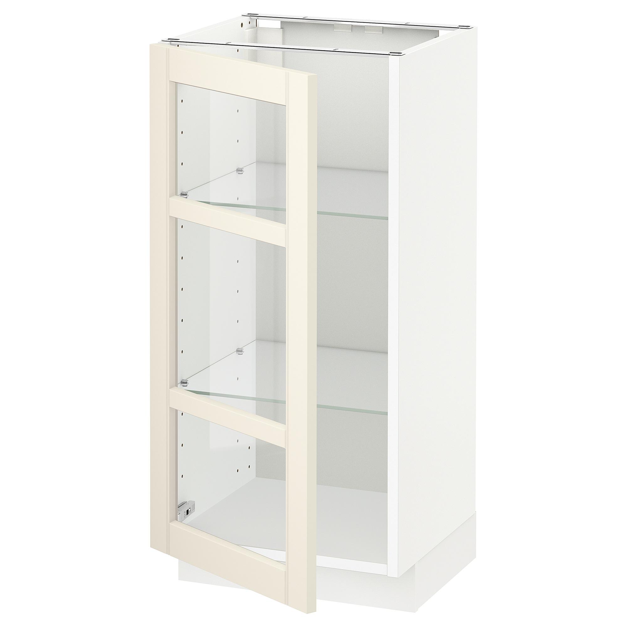 Напольный шкаф со стеклянной дверцей МЕТОД белый артикуль № 192.404.39 в наличии. Интернет магазин IKEA Минск. Быстрая доставка и соборка.