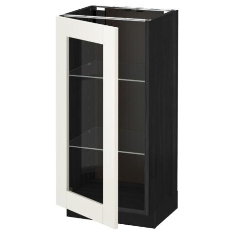 Напольный шкаф со стеклянной дверцей МЕТОД черный артикуль № 992.232.52 в наличии. Онлайн сайт ИКЕА Минск. Недорогая доставка и установка.