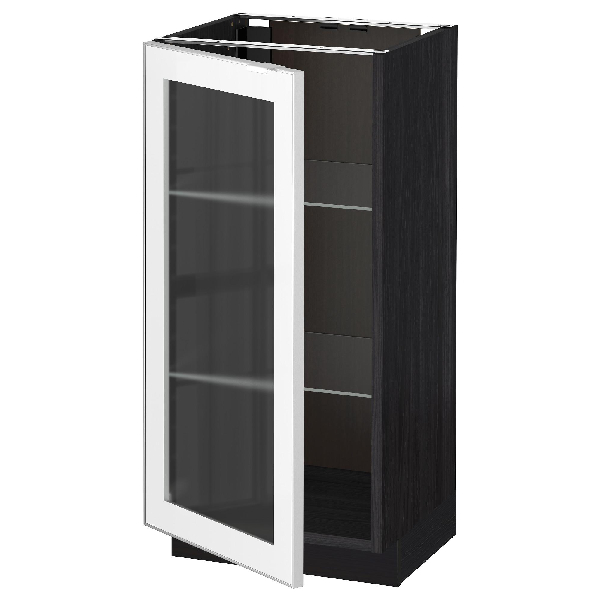 Напольный шкаф со стеклянной дверцей МЕТОД черный артикуль № 992.384.04 в наличии. Online магазин IKEA Минск. Недорогая доставка и установка.