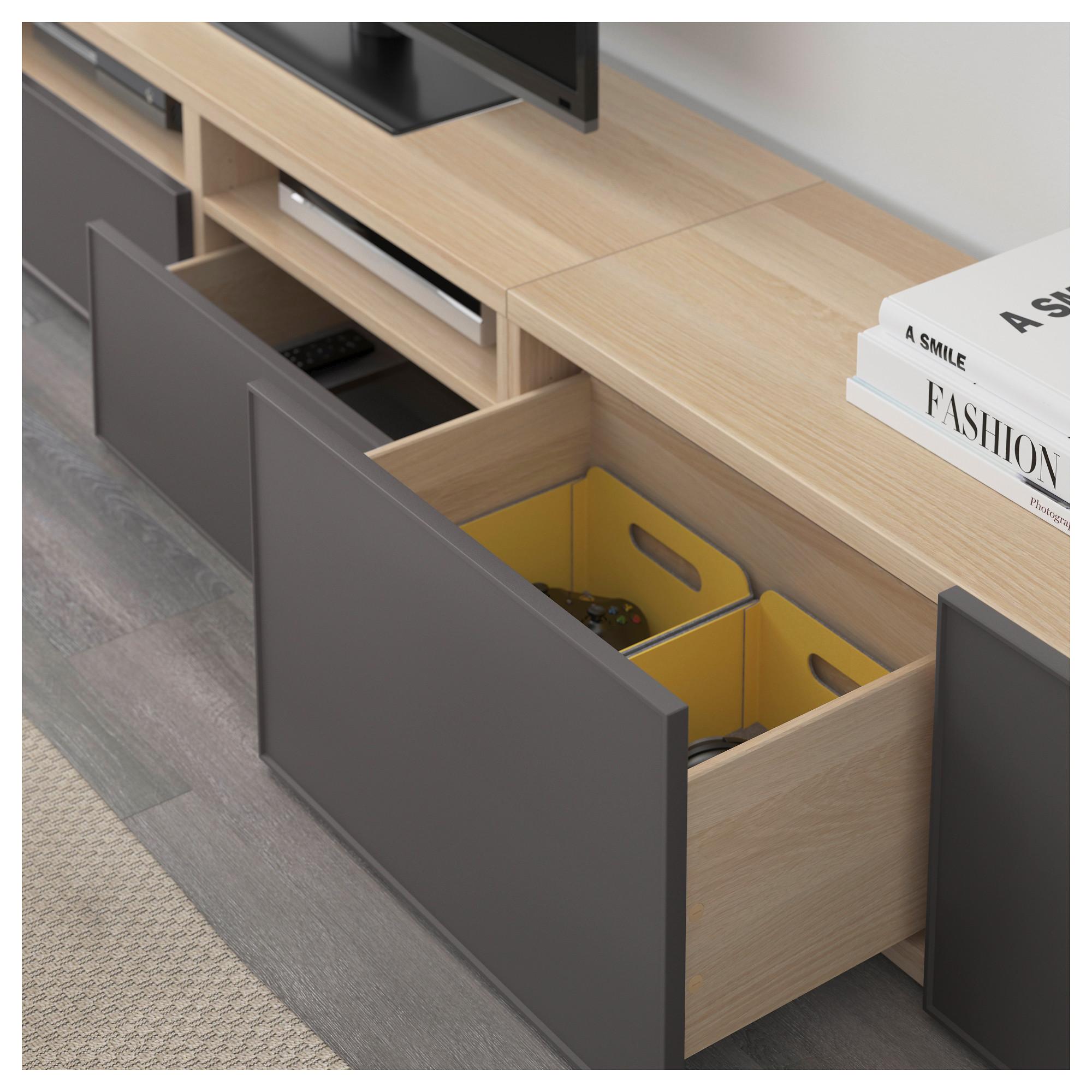 Шкаф для ТВ, комбинация БЕСТО темно-серый артикуль № 092.515.98 в наличии. Online каталог IKEA Минск. Быстрая доставка и монтаж.