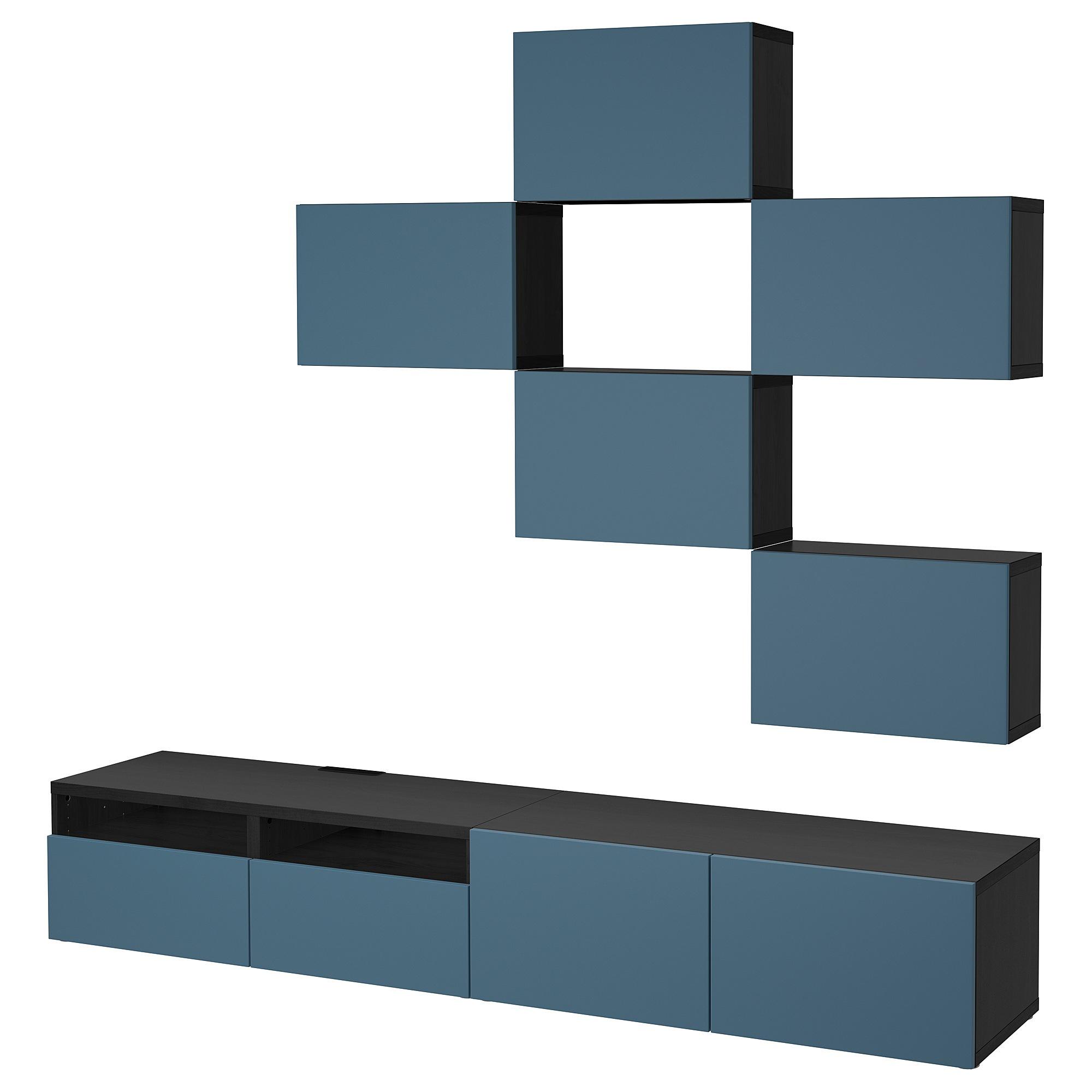 Шкаф для ТВ, комбинация БЕСТО темно-синий артикуль № 092.516.78 в наличии. Online сайт IKEA Беларусь. Быстрая доставка и соборка.