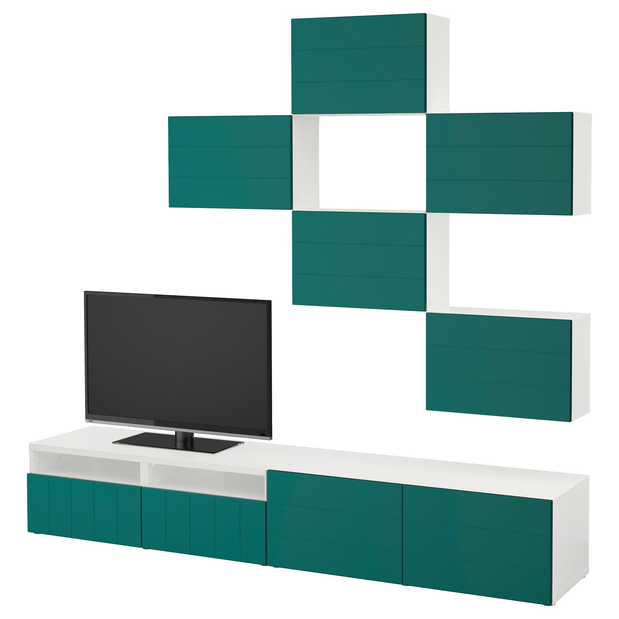 Шкаф для ТВ, комбинация БЕСТО сине-зеленый артикуль № 092.761.22 в наличии. Онлайн сайт ИКЕА Республика Беларусь. Недорогая доставка и установка.