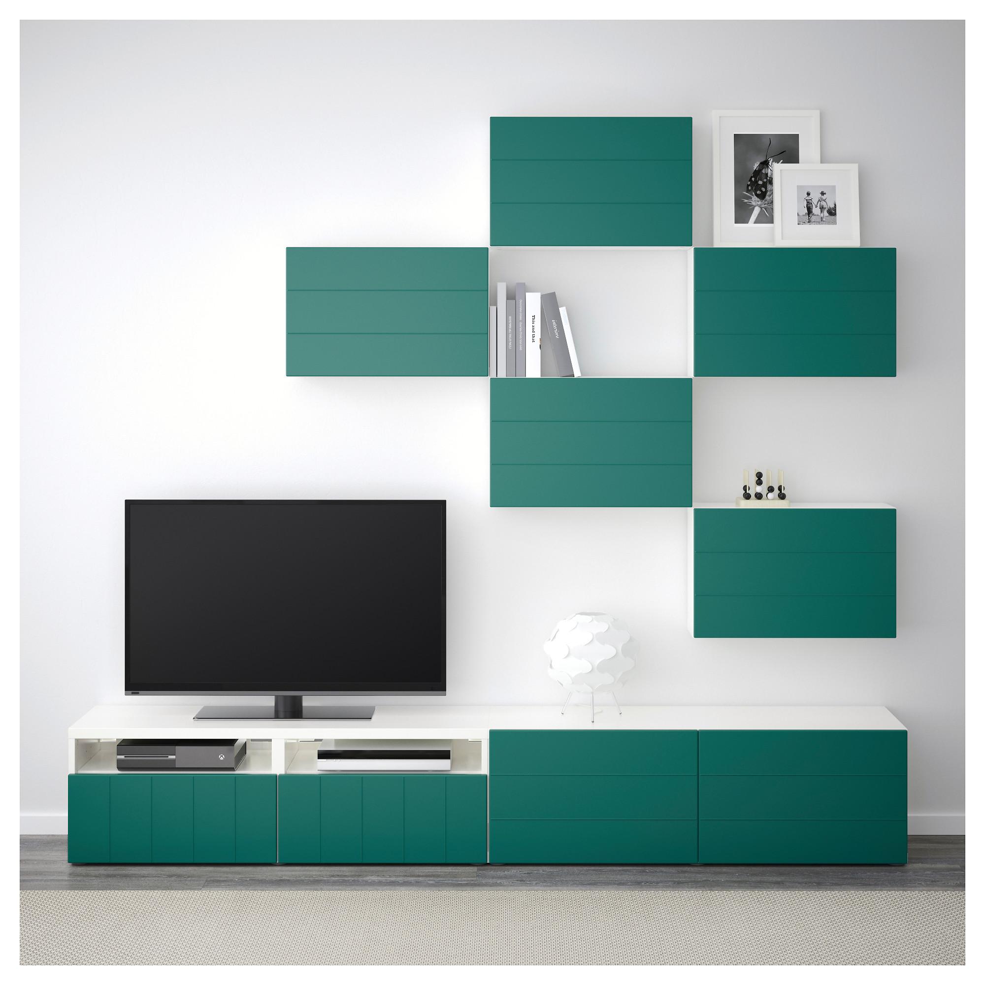 Шкаф для ТВ, комбинация БЕСТО сине-зеленый артикуль № 092.761.22 в наличии. Онлайн сайт ИКЕА Минск. Быстрая доставка и монтаж.