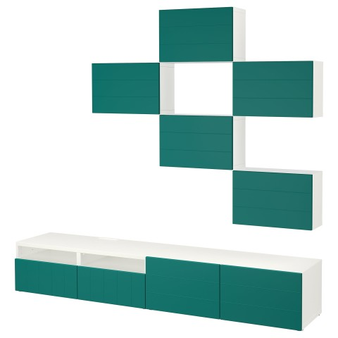 Шкаф для ТВ, комбинация БЕСТО сине-зеленый артикуль № 192.761.26 в наличии. Онлайн магазин IKEA РБ. Недорогая доставка и соборка.