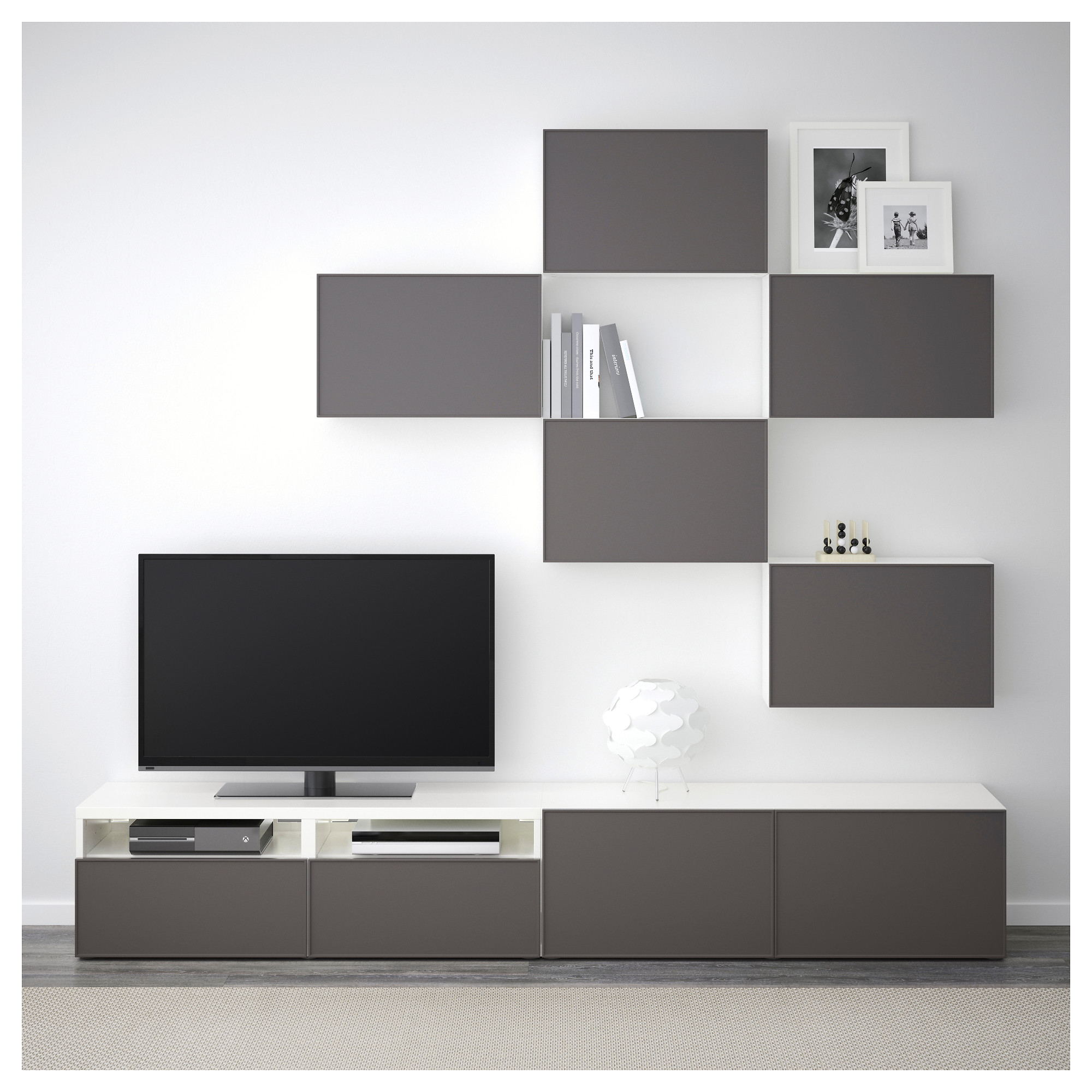 Шкаф для ТВ, комбинация БЕСТО темно-серый артикуль № 292.516.44 в наличии. Онлайн каталог IKEA РБ. Быстрая доставка и установка.