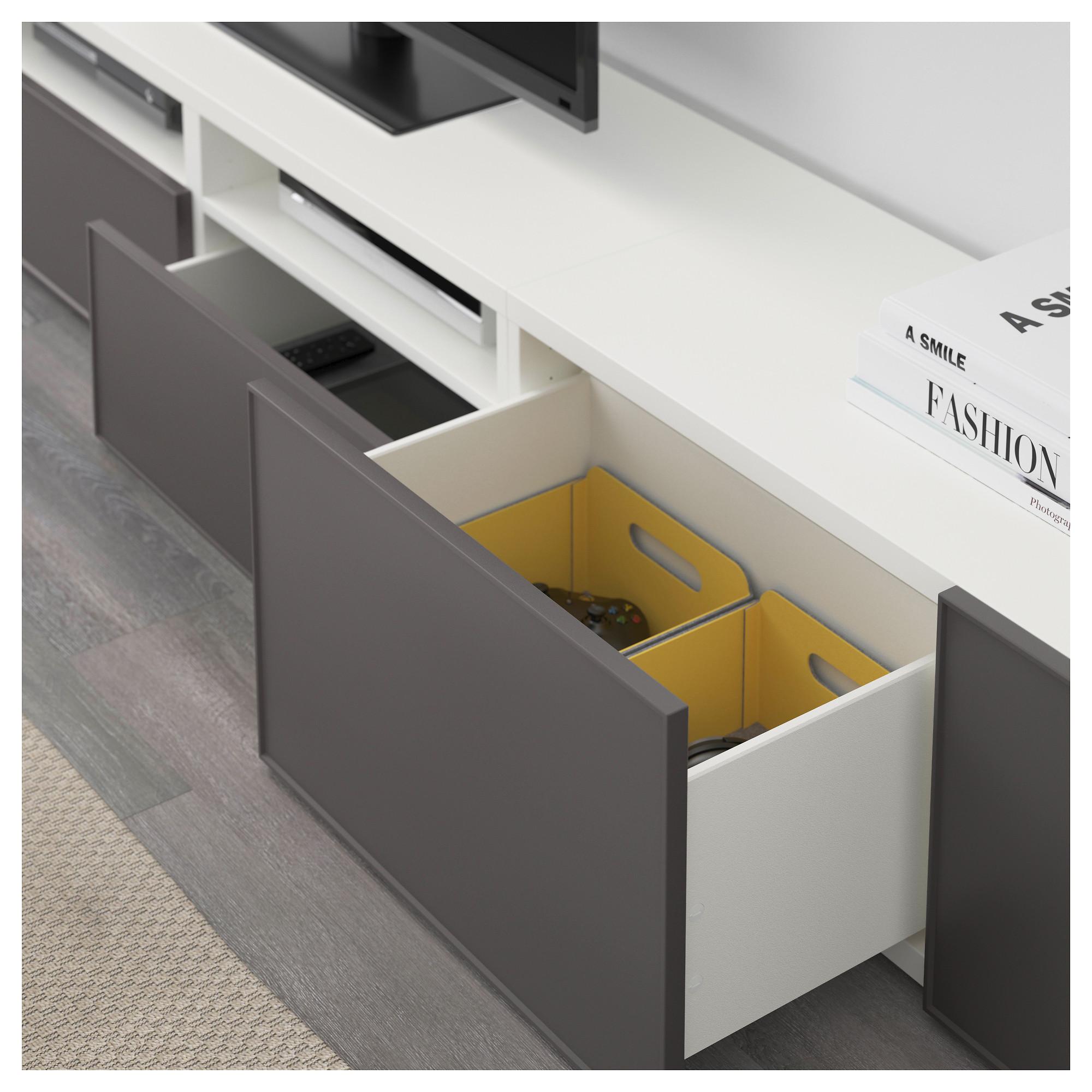 Шкаф для ТВ, комбинация БЕСТО темно-серый артикуль № 292.516.44 в наличии. Онлайн сайт IKEA Минск. Быстрая доставка и установка.