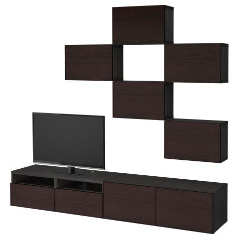Шкаф для ТВ, комбинация БЕСТО черно-коричневый артикуль № 392.514.22 в наличии. Онлайн сайт IKEA РБ. Быстрая доставка и монтаж.