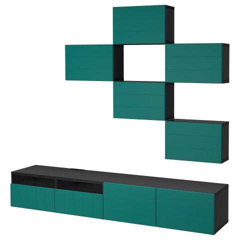 Шкаф для ТВ, комбинация БЕСТО сине-зеленый артикуль № 492.761.20 в наличии. Онлайн сайт IKEA Минск. Недорогая доставка и монтаж.