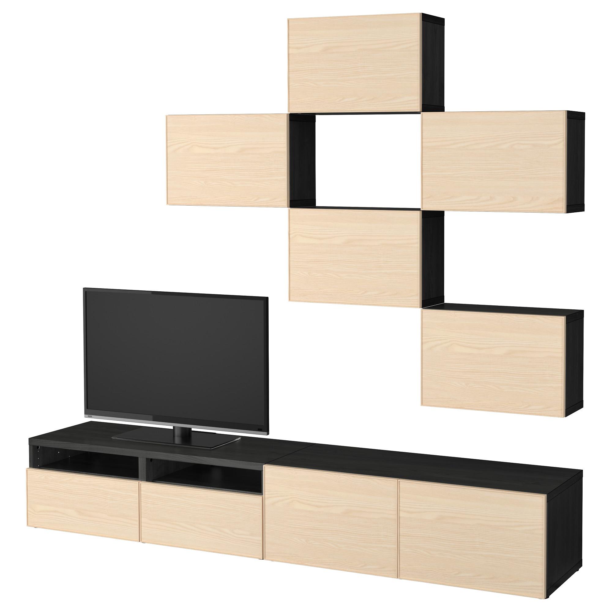 Шкаф для ТВ, комбинация БЕСТО черно-коричневый артикуль № 592.514.21 в наличии. Online сайт IKEA Минск. Быстрая доставка и монтаж.