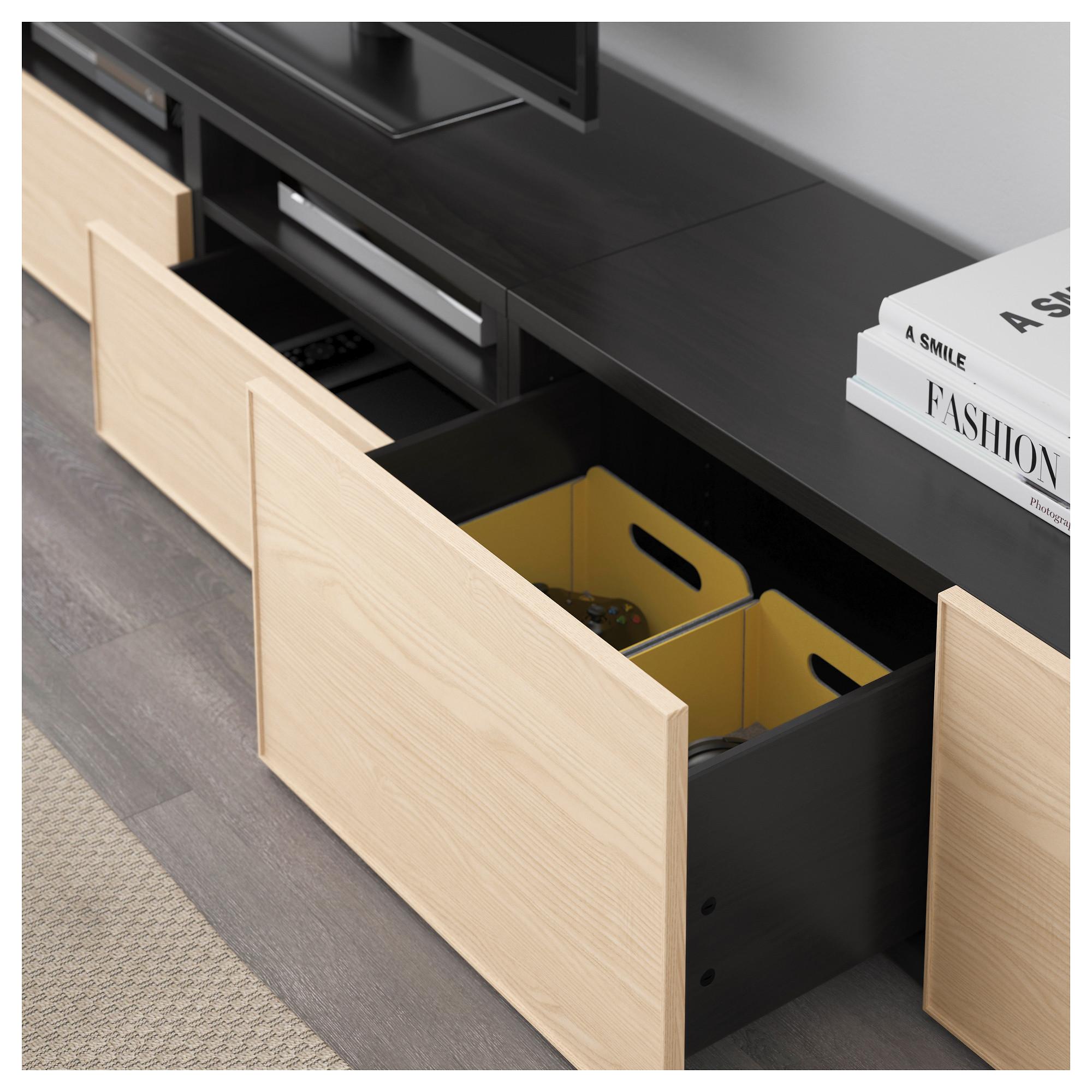 Шкаф для ТВ, комбинация БЕСТО черно-коричневый артикуль № 592.514.21 в наличии. Интернет магазин IKEA Беларусь. Недорогая доставка и монтаж.