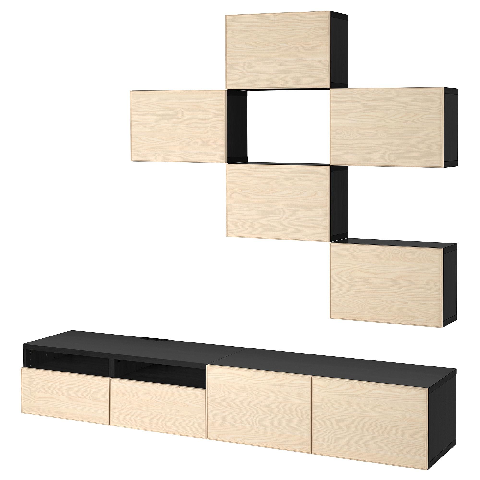 Шкаф для ТВ, комбинация БЕСТО черно-коричневый артикуль № 692.514.25 в наличии. Интернет сайт IKEA Минск. Быстрая доставка и соборка.