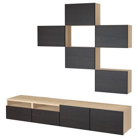 Шкаф для ТВ, комбинация БЕСТО черно-коричневый артикуль № 692.514.30 в наличии. Онлайн магазин IKEA Беларусь. Быстрая доставка и монтаж.