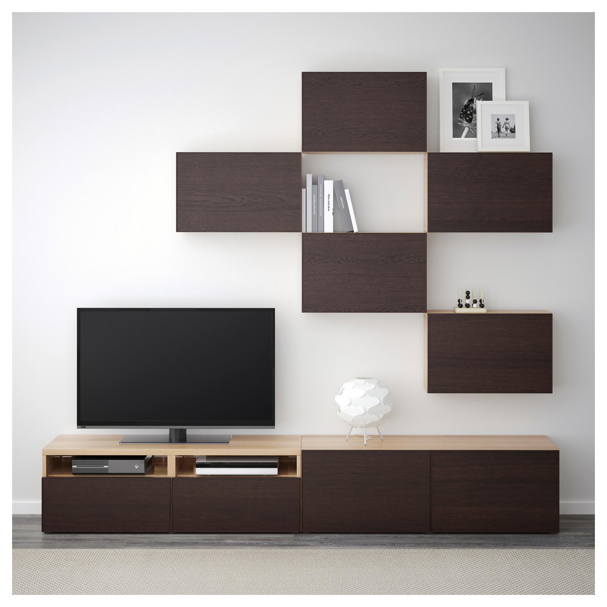 Шкаф для ТВ, комбинация БЕСТО черно-коричневый артикуль № 692.514.30 в наличии. Интернет магазин IKEA РБ. Быстрая доставка и установка.