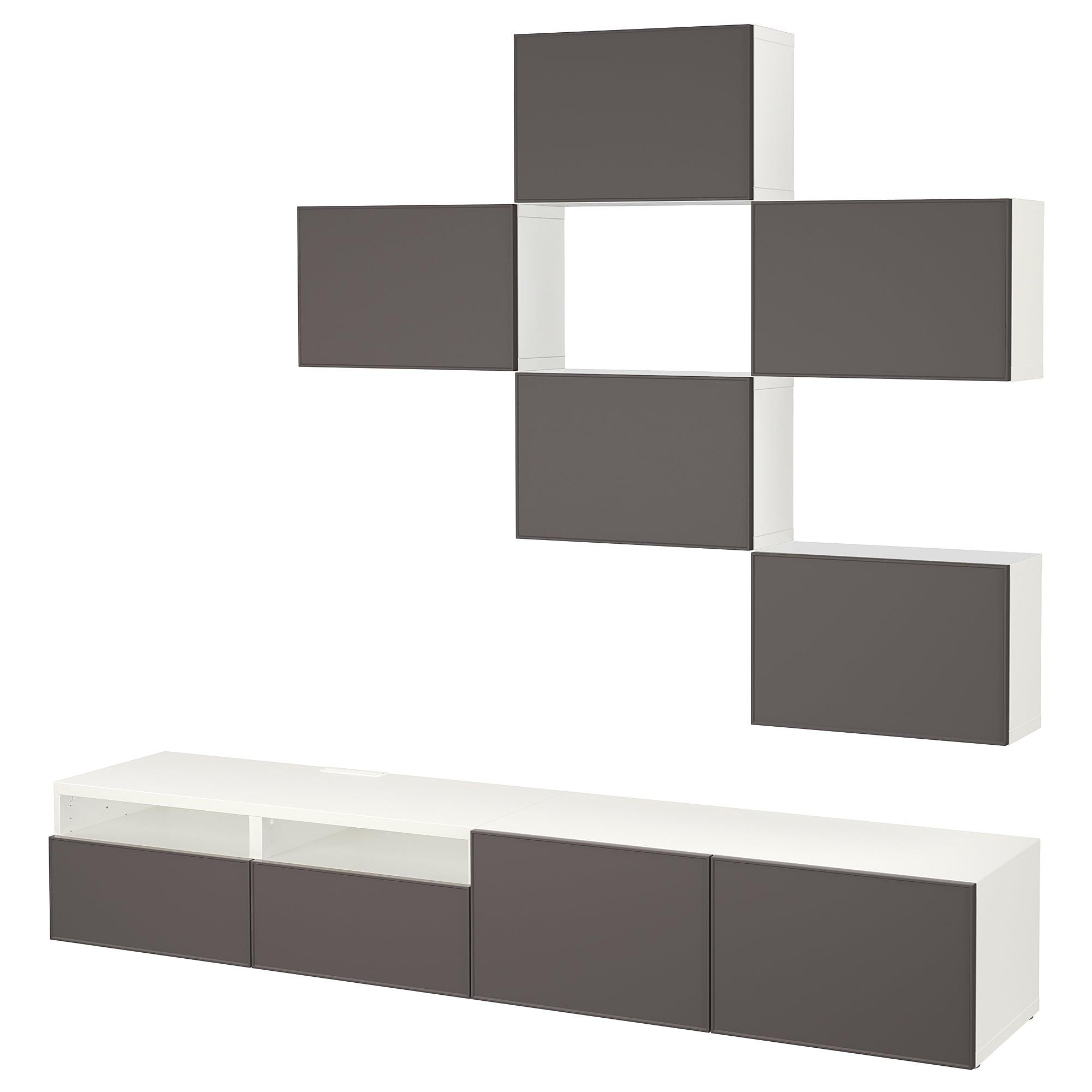 Шкаф для ТВ, комбинация БЕСТО темно-серый артикуль № 692.516.42 в наличии. Online магазин IKEA РБ. Быстрая доставка и соборка.