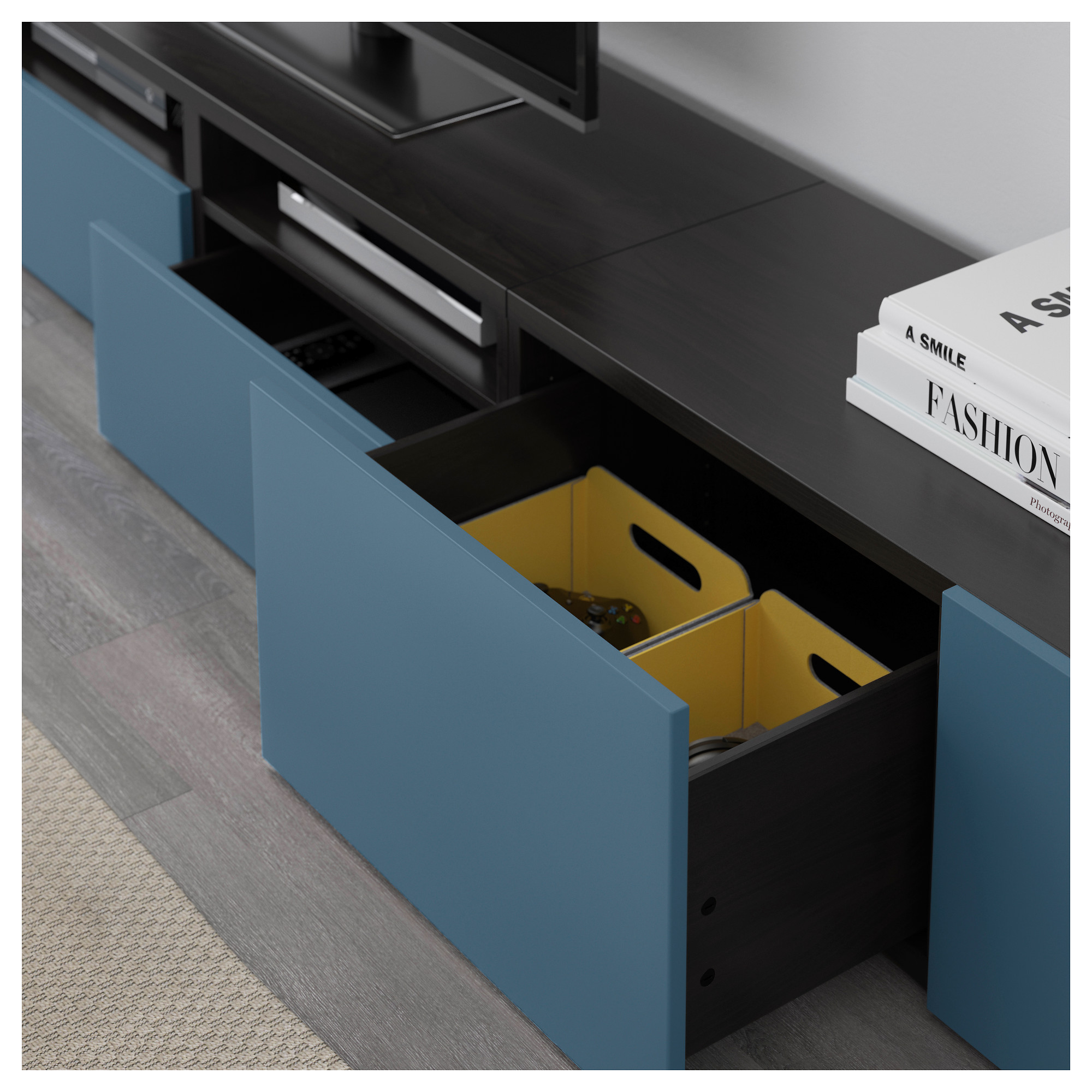 Шкаф для ТВ, комбинация БЕСТО темно-синий артикуль № 692.516.80 в наличии. Интернет магазин ИКЕА РБ. Недорогая доставка и установка.