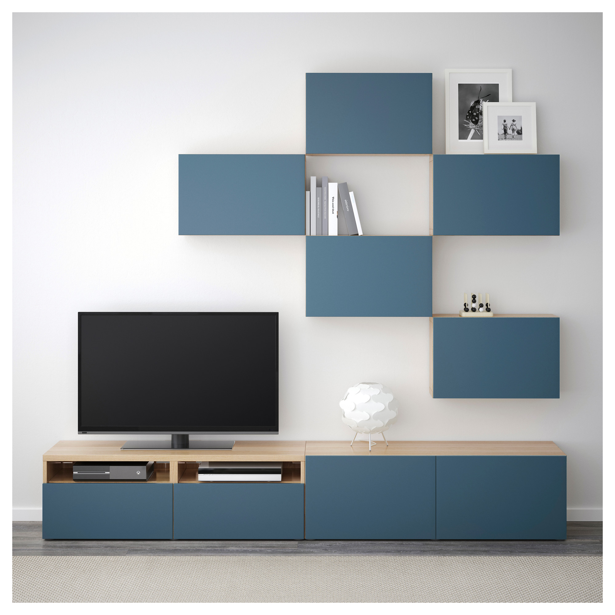 Шкаф для ТВ, комбинация БЕСТО темно-синий артикуль № 792.516.65 в наличии. Online магазин IKEA Минск. Недорогая доставка и установка.