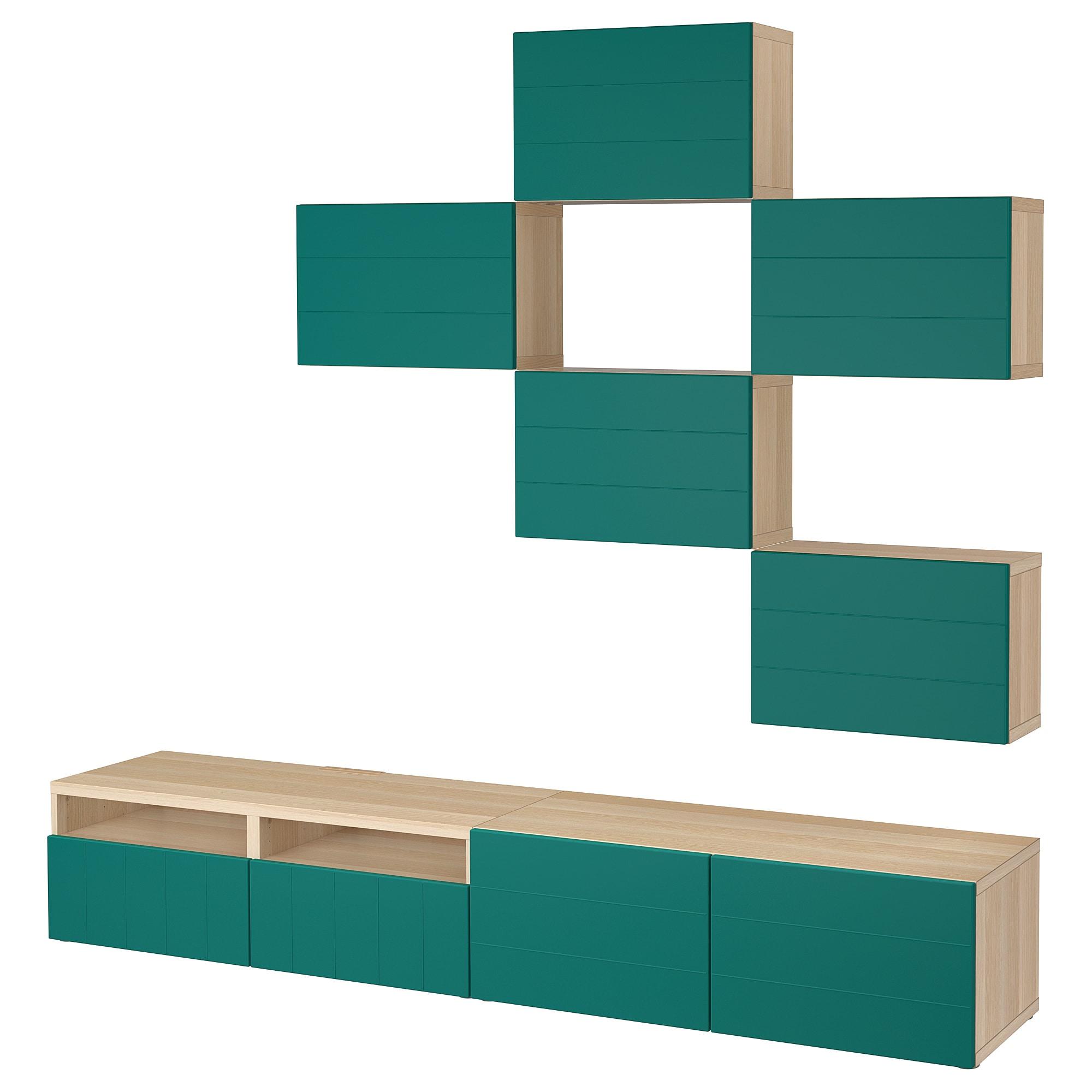 Шкаф для ТВ, комбинация БЕСТО сине-зеленый артикуль № 792.761.28 в наличии. Online каталог IKEA РБ. Недорогая доставка и установка.