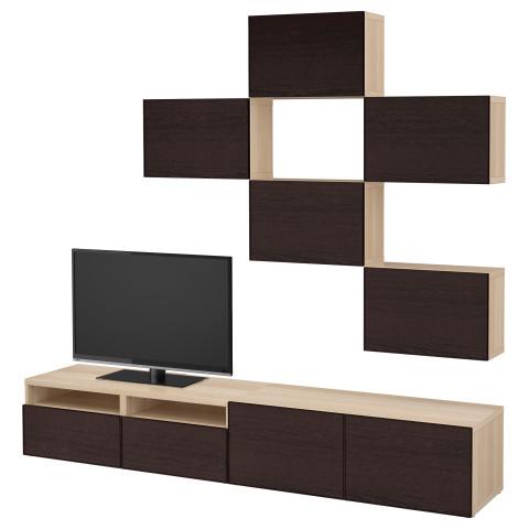 Шкаф для ТВ, комбинация БЕСТО черно-коричневый артикуль № 892.514.29 в наличии. Интернет магазин IKEA РБ. Быстрая доставка и установка.