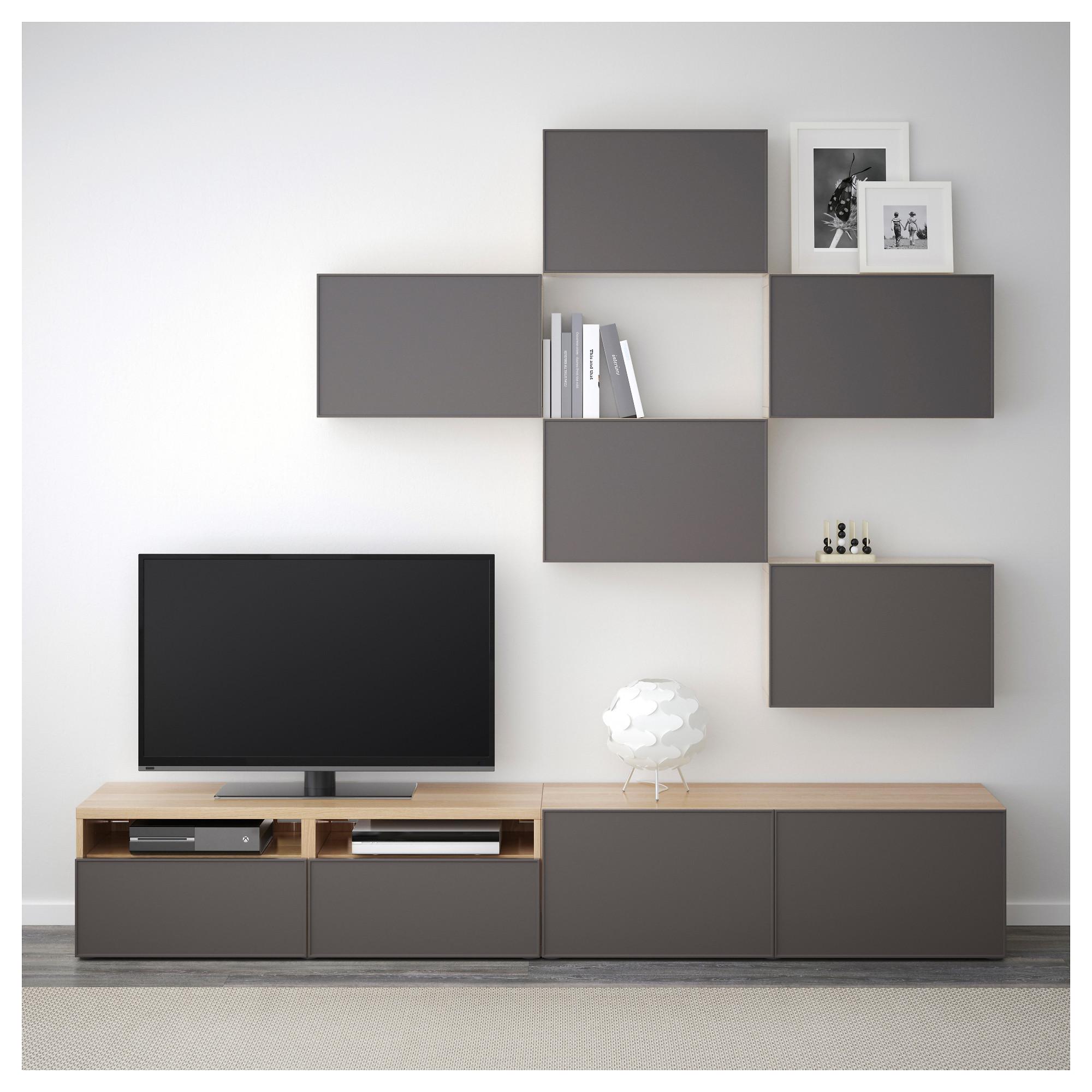 Шкаф для ТВ, комбинация БЕСТО темно-серый артикуль № 892.515.99 в наличии. Online магазин IKEA Минск. Недорогая доставка и монтаж.