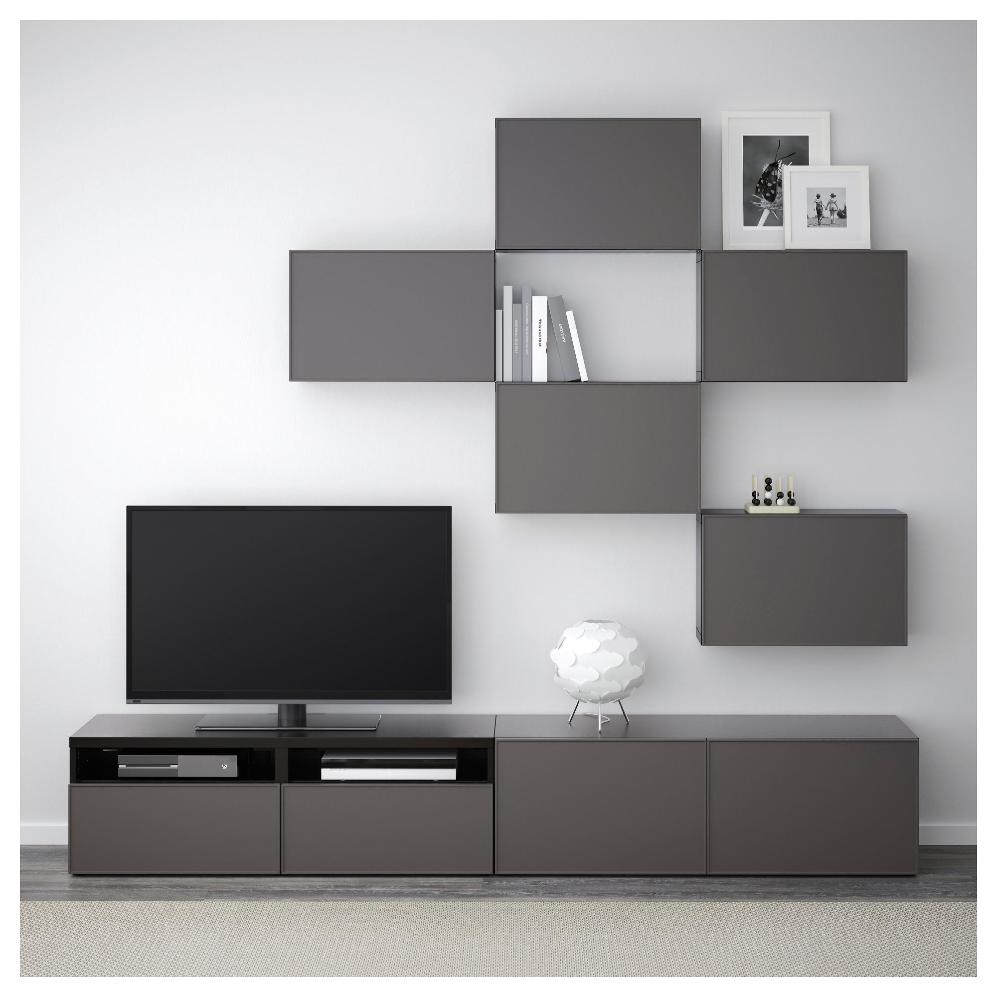 Шкаф для ТВ, комбинация БЕСТО темно-серый артикуль № 892.516.41 в наличии. Online сайт IKEA РБ. Быстрая доставка и установка.