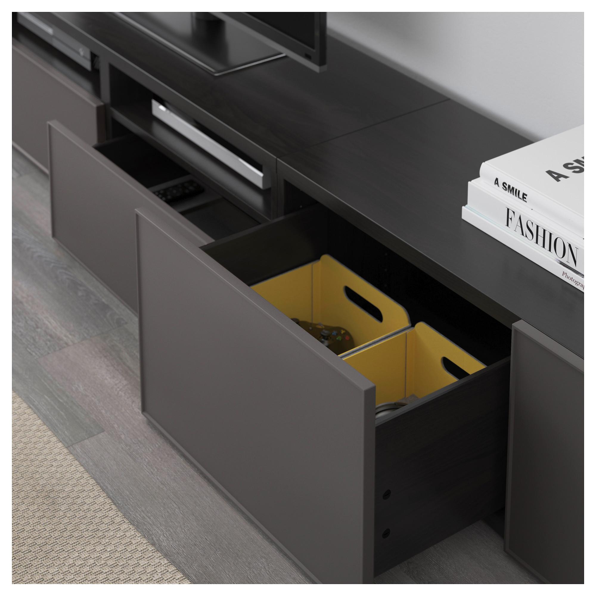 Шкаф для ТВ, комбинация БЕСТО темно-серый артикуль № 892.516.41 в наличии. Онлайн магазин ИКЕА РБ. Недорогая доставка и монтаж.