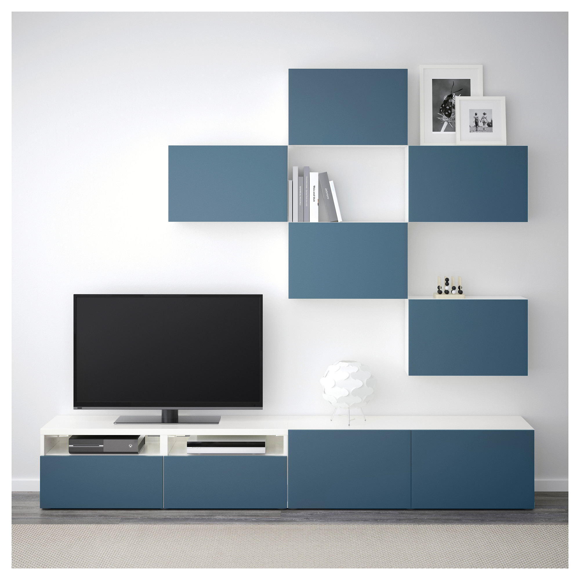 Шкаф для ТВ, комбинация БЕСТО темно-синий артикуль № 892.516.79 в наличии. Онлайн магазин ИКЕА Беларусь. Недорогая доставка и установка.