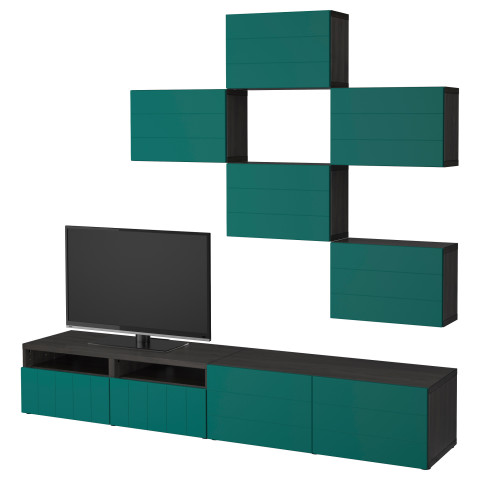 Шкаф для ТВ, комбинация БЕСТО сине-зеленый артикуль № 892.761.18 в наличии. Интернет каталог ИКЕА Минск. Быстрая доставка и установка.