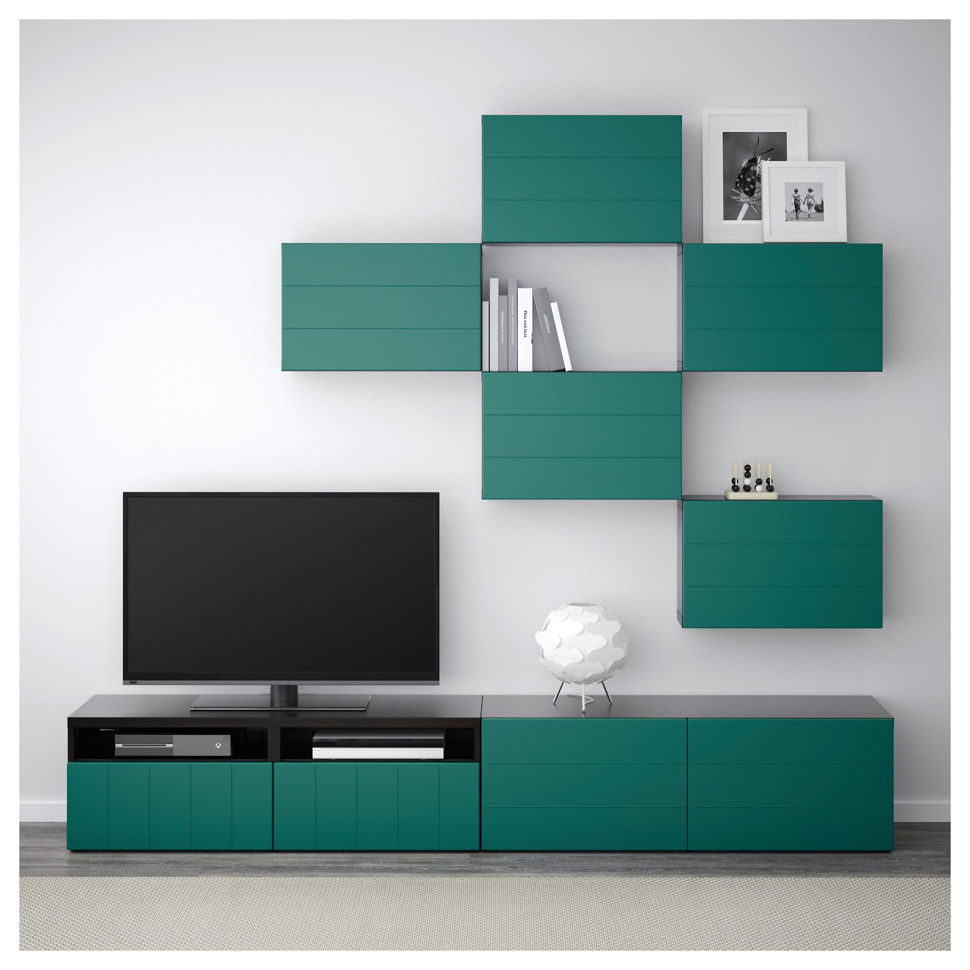 Шкаф для ТВ, комбинация БЕСТО сине-зеленый артикуль № 892.761.18 в наличии. Онлайн сайт IKEA Минск. Недорогая доставка и установка.