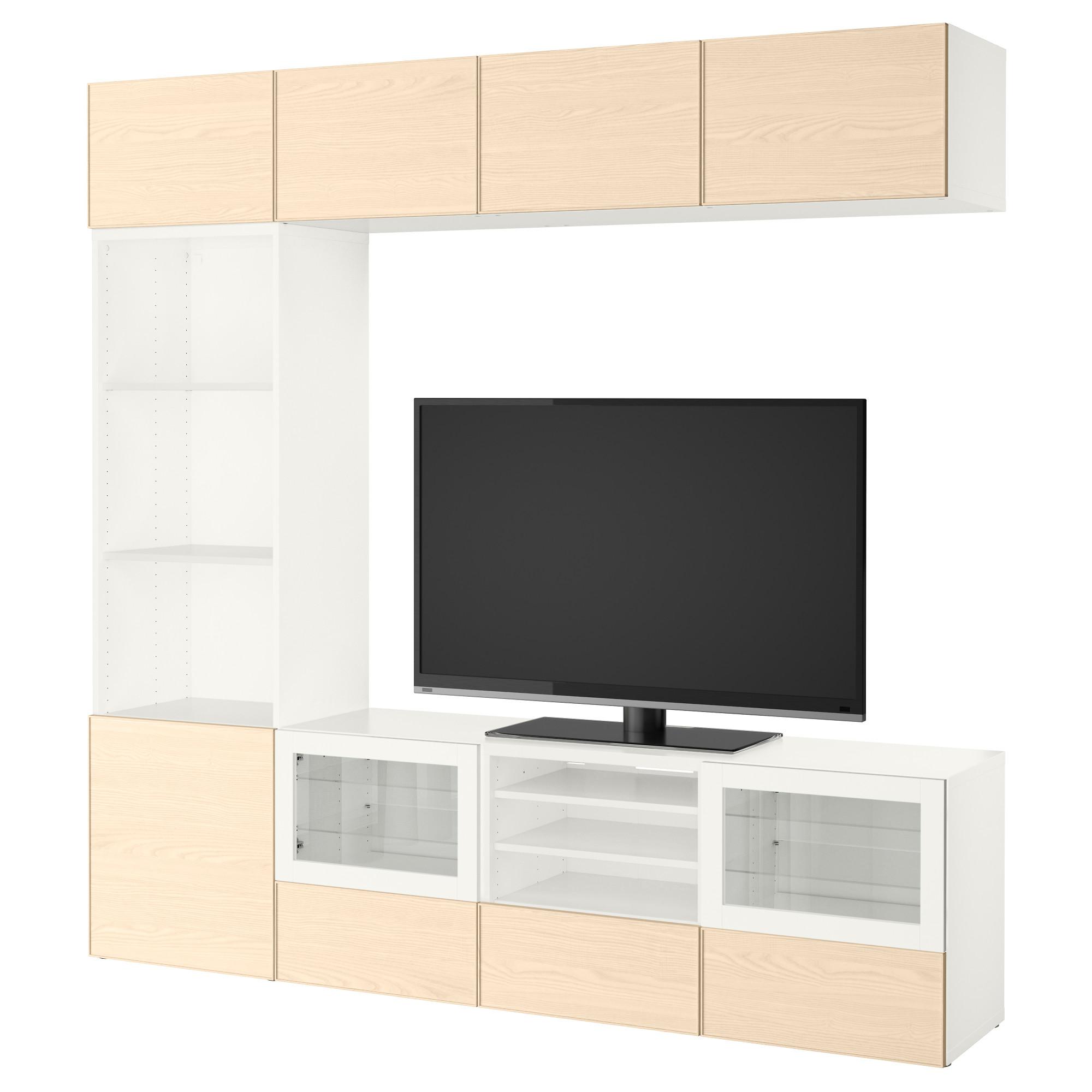 Шкаф для ТВ, комбинированный, стекляные дверцы БЕСТО белый артикуль № 092.501.41 в наличии. Online магазин IKEA Беларусь. Недорогая доставка и установка.