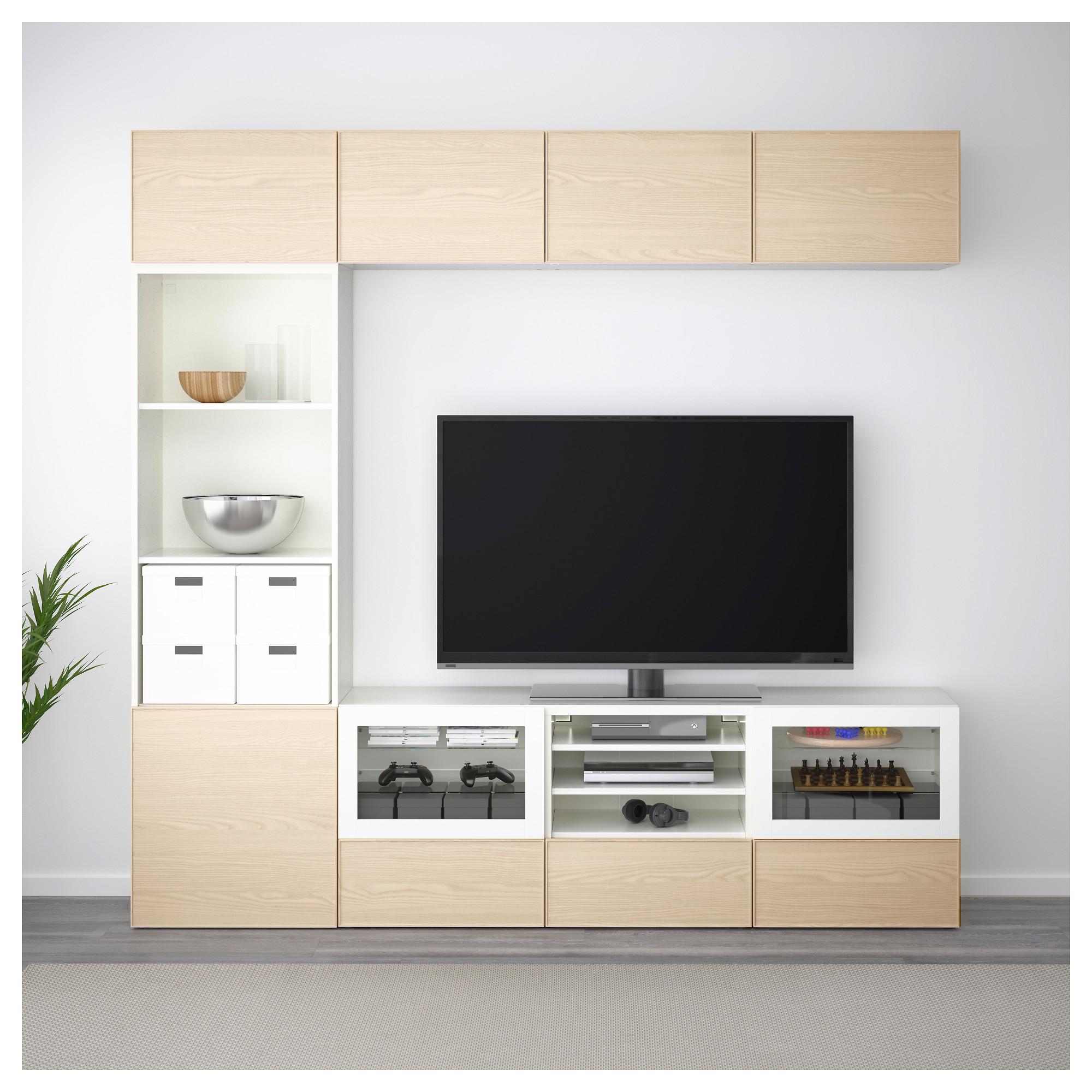 Шкаф для ТВ, комбинированный, стекляные дверцы БЕСТО белый артикуль № 092.501.41 в наличии. Онлайн каталог ИКЕА РБ. Недорогая доставка и монтаж.