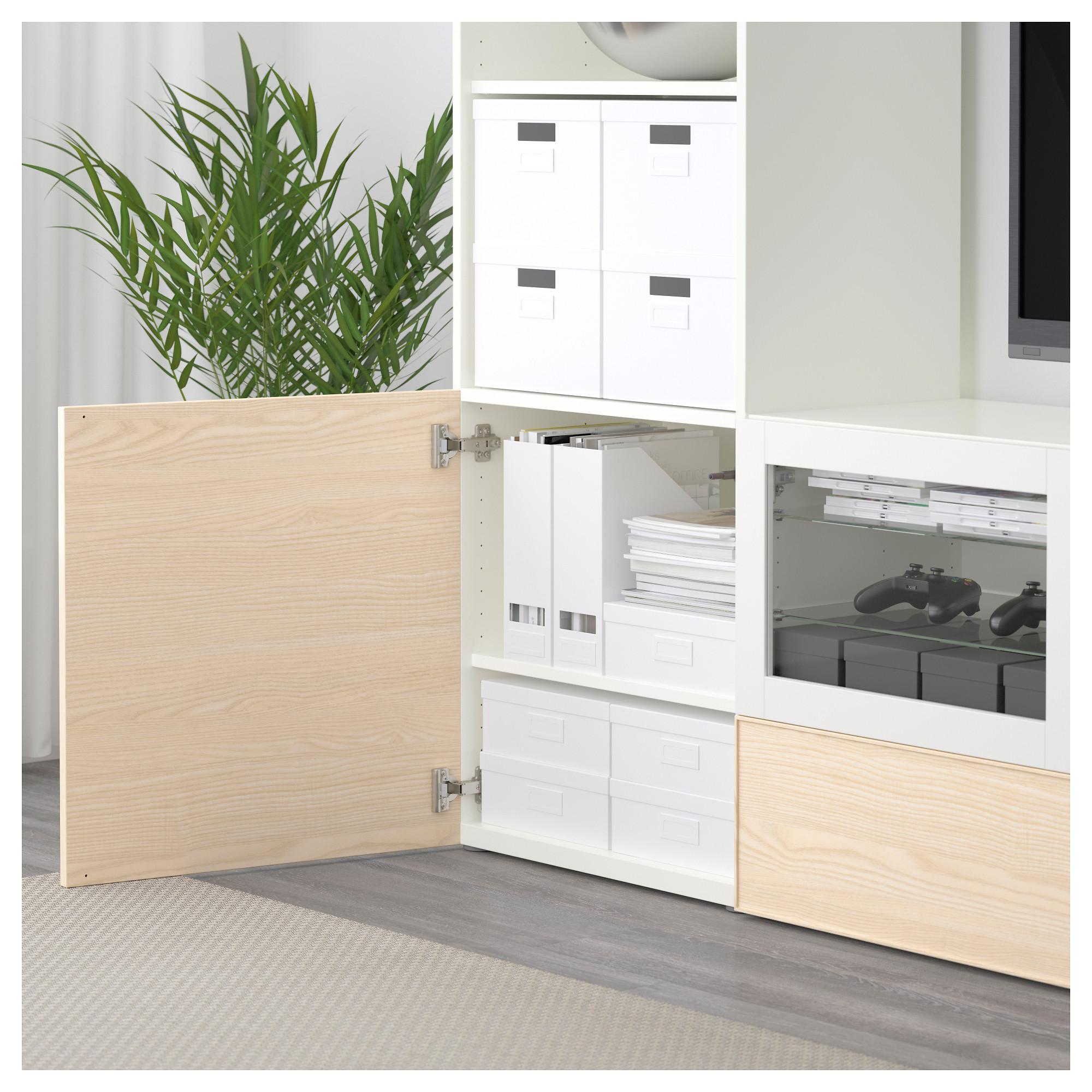 Шкаф для ТВ, комбинированный, стекляные дверцы БЕСТО белый артикуль № 092.501.41 в наличии. Интернет сайт IKEA Минск. Быстрая доставка и монтаж.
