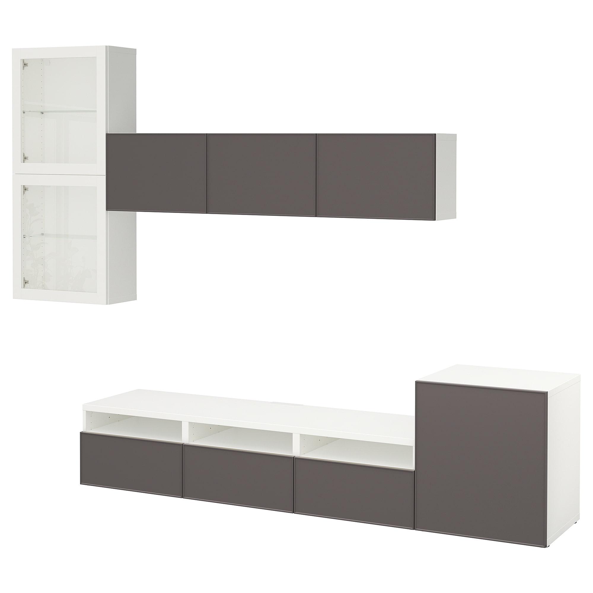 Шкаф для ТВ, комбинированный, стекляные дверцы БЕСТО артикуль № 092.522.15 в наличии. Интернет каталог IKEA РБ. Недорогая доставка и установка.