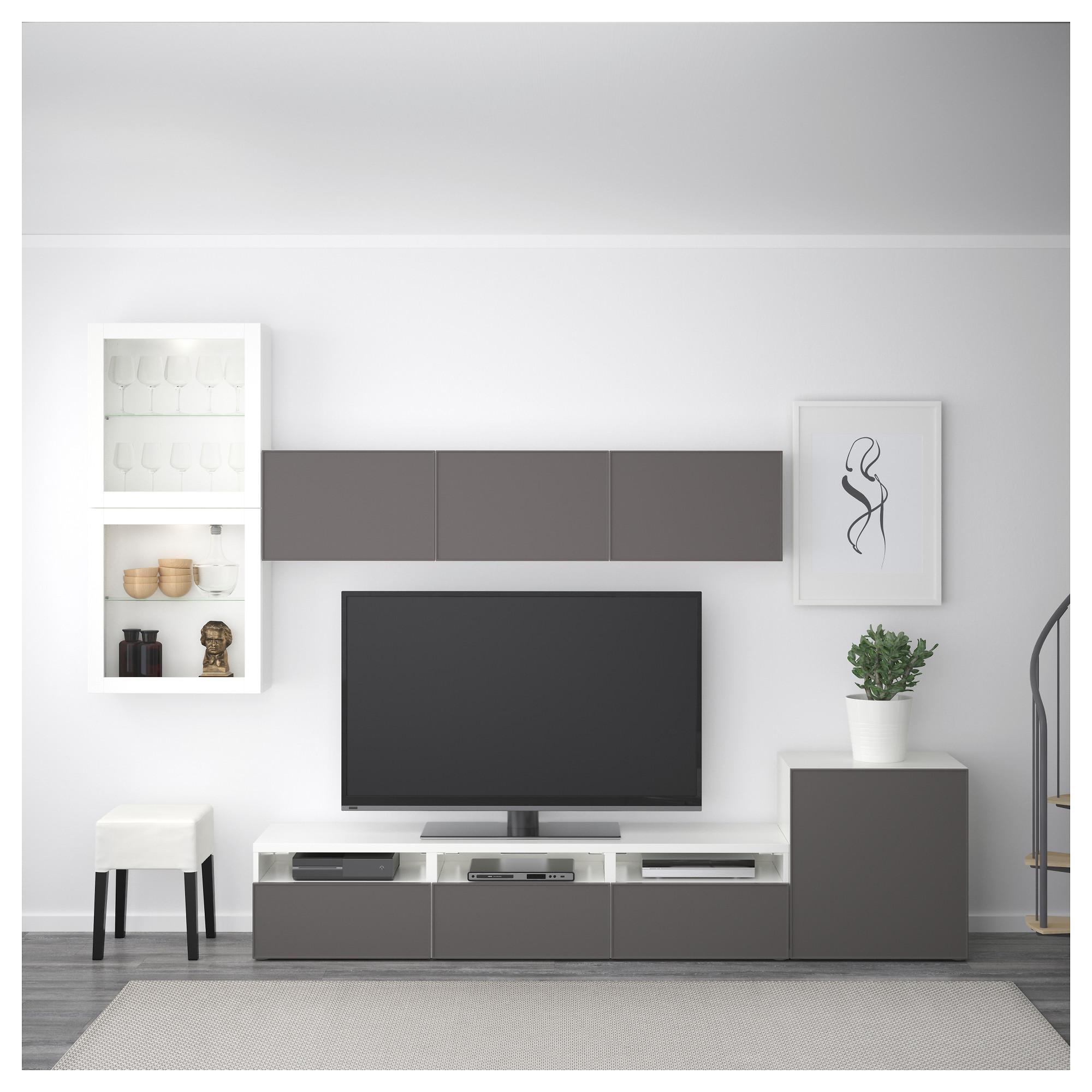Шкаф для ТВ, комбинированный, стекляные дверцы БЕСТО артикуль № 092.522.15 в наличии. Интернет сайт IKEA Минск. Быстрая доставка и установка.
