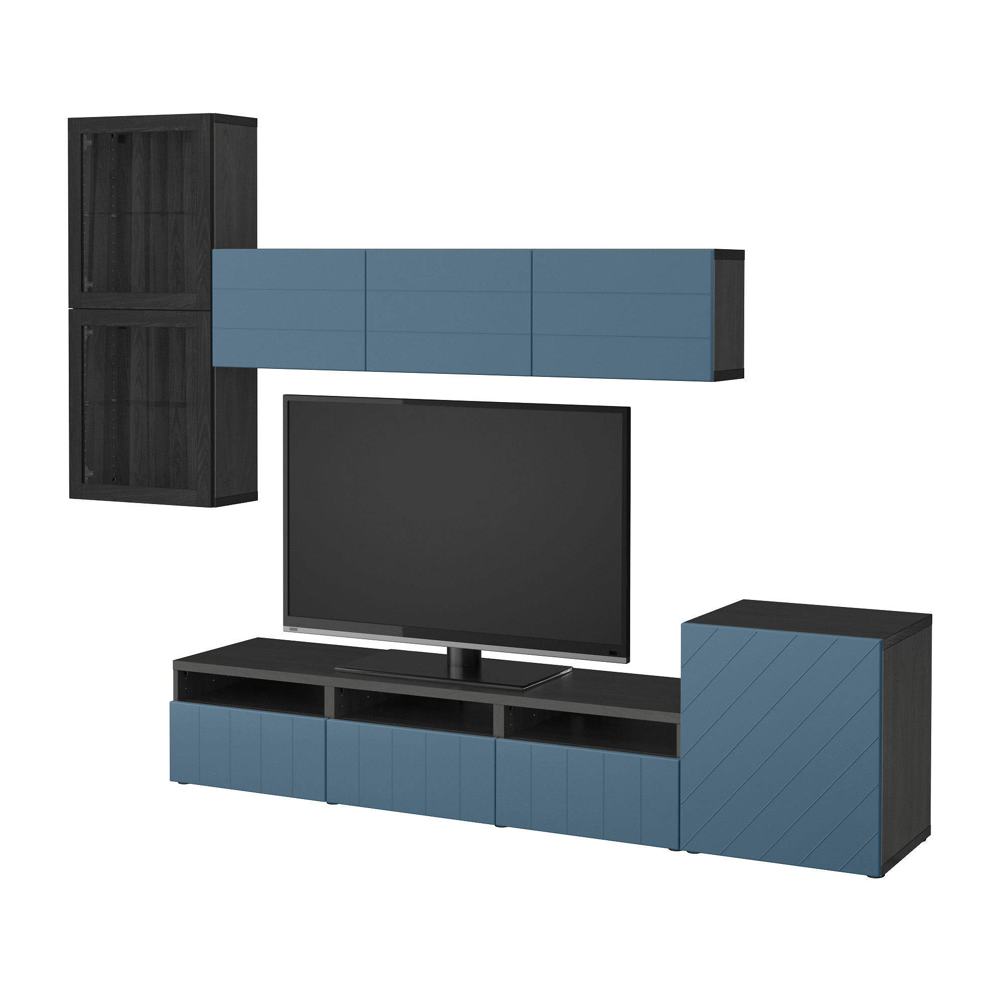 Шкаф для ТВ, комбинированный, стекляные дверцы БЕСТО темно-синий артикуль № 092.761.41 в наличии. Online сайт IKEA Минск. Недорогая доставка и соборка.