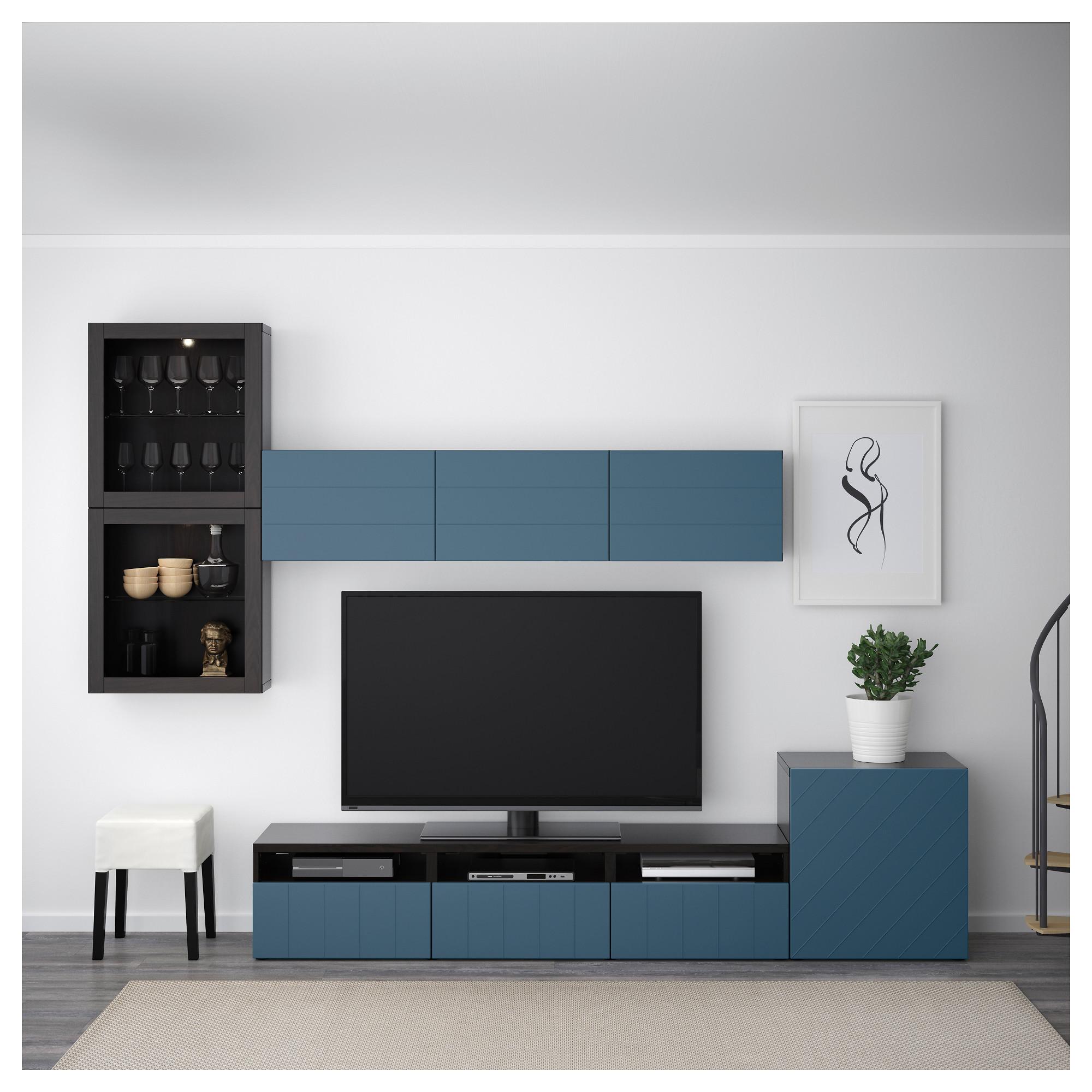 Шкаф для ТВ, комбинированный, стекляные дверцы БЕСТО темно-синий артикуль № 092.761.41 в наличии. Интернет каталог IKEA РБ. Быстрая доставка и установка.