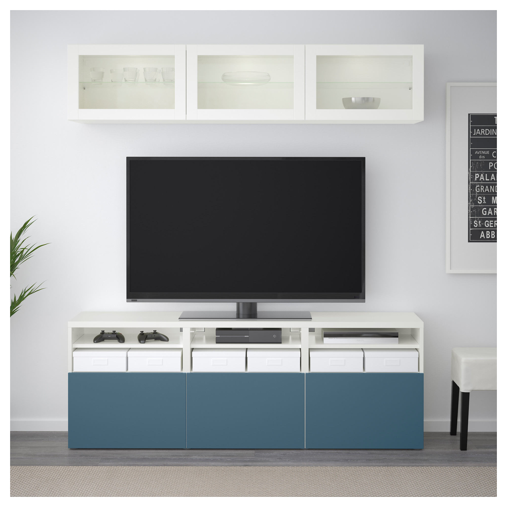 Шкаф для ТВ, комбинированный, стекляные дверцы БЕСТО артикуль № 192.498.83 в наличии. Интернет сайт IKEA Беларусь. Недорогая доставка и монтаж.