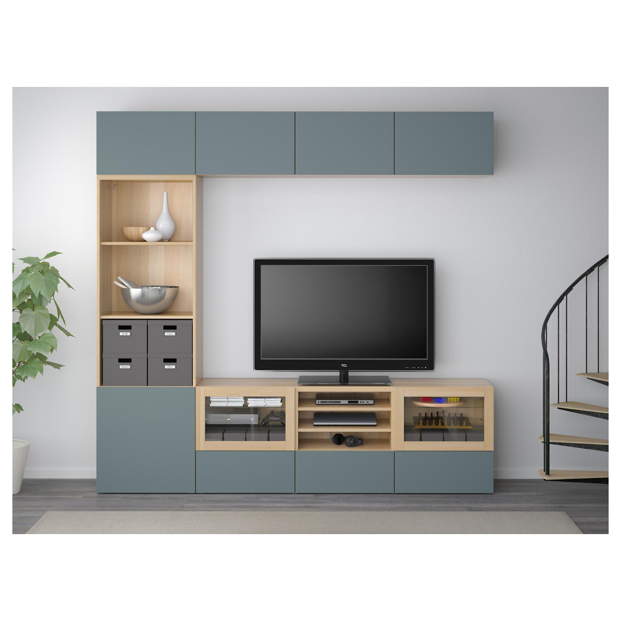 Шкаф для ТВ, комбинированный, стекляные дверцы БЕСТО артикуль № 192.501.31 в наличии. Online магазин IKEA Беларусь. Недорогая доставка и установка.