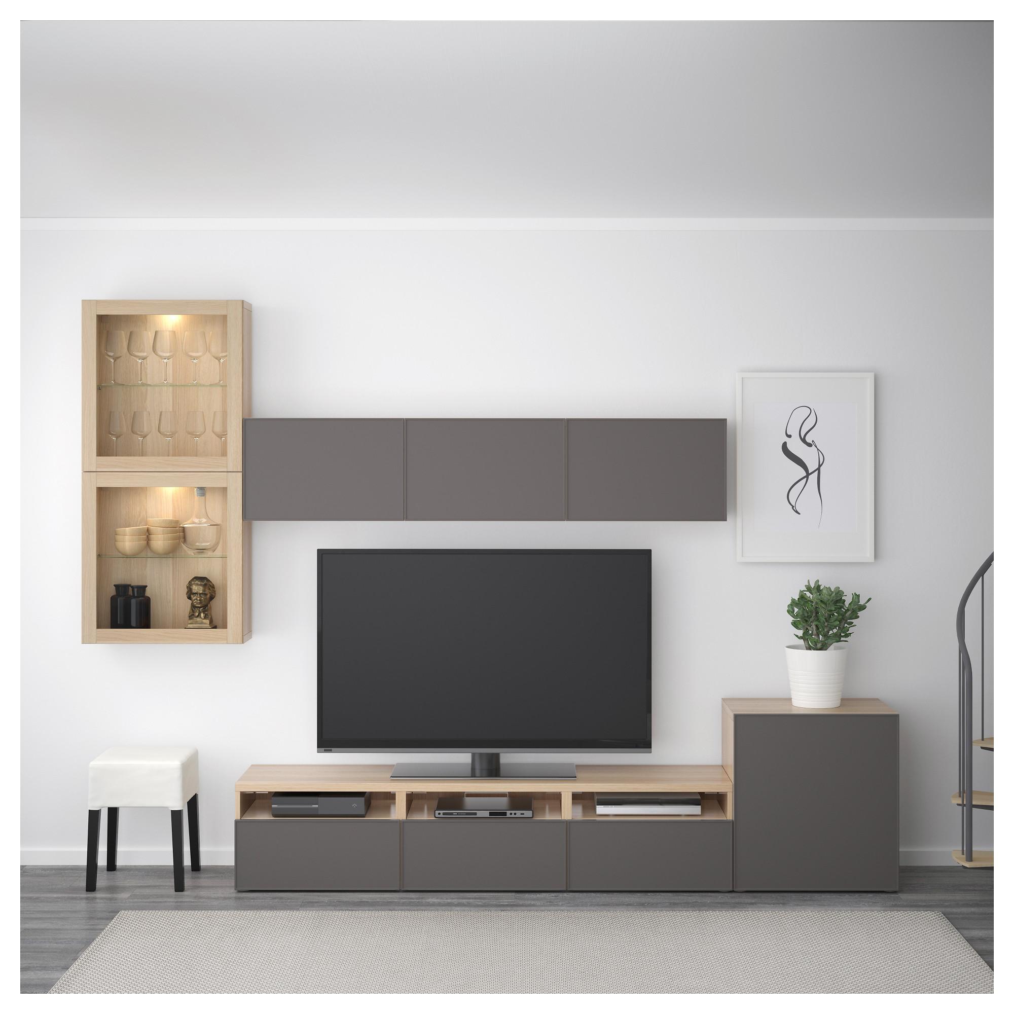 Шкаф для ТВ, комбинированный, стекляные дверцы БЕСТО темно-серый артикуль № 192.522.10 в наличии. Интернет сайт IKEA РБ. Быстрая доставка и монтаж.