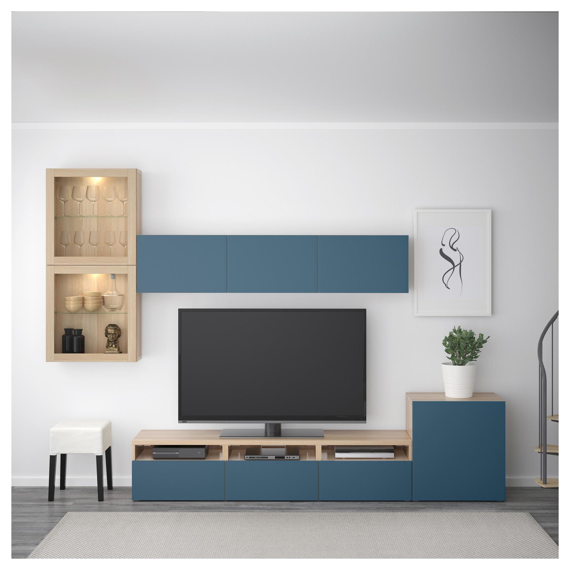 Шкаф для ТВ, комбинированный, стекляные дверцы БЕСТО темно-синий артикуль № 192.522.29 в наличии. Онлайн магазин ИКЕА РБ. Быстрая доставка и установка.